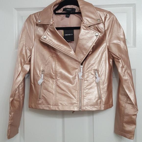 0957ab59c167 Rose Gold faux leather jacket NWT